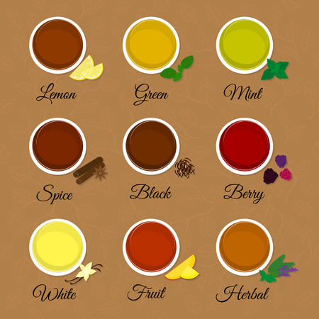 black berry: Tea menu on textured background with leaves. Different tea flavors. Lemon, green, black, mint, white, herbal, fruit, berry, spice tea. Top view.