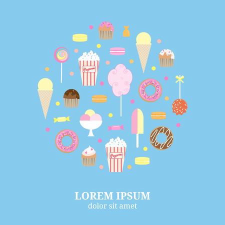 Flache Desserts Symbole in Kreisform zusammengesetzt. Lollipops, Popcorn, Eis, Muffins, Zuckerwatte, Karamell Apfel, Donuts, Muffins, maracons, Süßigkeiten. Straßen Desserts im Kreis. Standard-Bild - 49596977