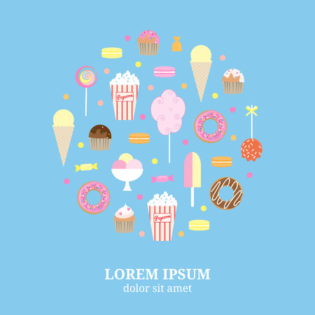 Flat desserts icons composed in circle shape. Lollipops, popcorn, ice cream, muffins, cotton candy, caramel apple, donuts, cupcakes, maracons, candies. Street desserts in circle.
