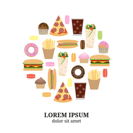 Fast food flat icons composed in circle shape. Hotdog, cupcake, donut, slice of pizza, cola, burger, burrito, french fries, muffin, macaron. Junk food in circle. Illustration