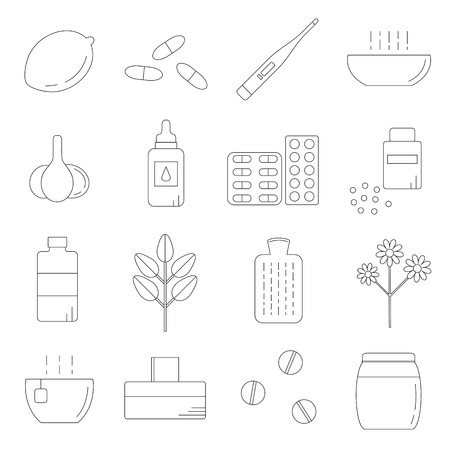 cough syrup: Set of linear icons for flu and cold treatment. Home remedies for health treatment. Lemon, honey, pills, herbs, supplements, thermometer, hot water bottle, garlic. Medical and aurvedic items.