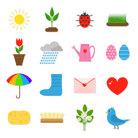 plant pot: Set of 16 colorful flat spring icons. Sun, plant sprout, ladybug, grass, tulip in pot, clouds and rain, watering can, colored eggs, umbrella, rain boots, love letter, heart, sponge, flowers, bird. Illustration