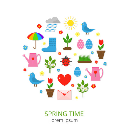 love in rain: Colorful spring icons composed in circle shape. Sun, plant sprout, ladybug, grass, tulip in pot, clouds and rain, watering can, colored eggs, umbrella, rain boots, love letter, heart, flowers, bird.