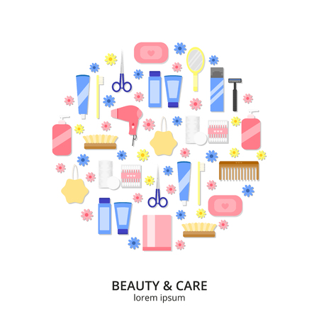 beauty spa: Beauty care, spa and hygiene products icons composed in circle shape. Hygiene and healthcare concept. Vector. Items for body care and hygiene. Flat beauty icons in circle on white background.