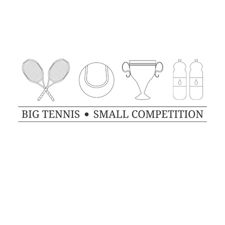 tagline:  design template with outline tennis items. Tennis icons on white background. Tagline. Place for your text. Tennis rackets, tennis ball, prize cup, bottles with water. Illustration