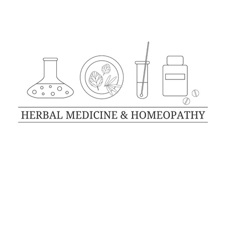 tagline: design template with outline medical items. Medical icons on white background. Herbal potion, test tube, homeopathic supplements, bottle. Alternative pharmacy. Tagline. Place for your text. Illustration