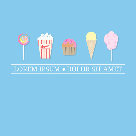design template with street desserts. Lollipop, popcorn, muffin, ice cream cone, cotton candy. Tag line. Place for text.