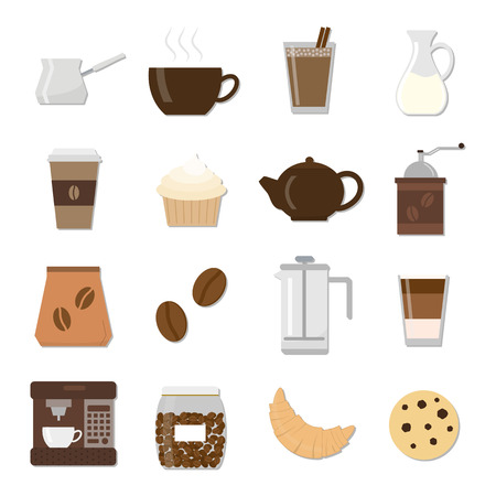 drinking coffee: Set of different flat coffee icons. Colorful icons for coffee shop and cafe. Coffee maker, coffee cup, milk, cookie, croissant, grinder, coffee beans, coffee maker, cupcake, coffee in glass.