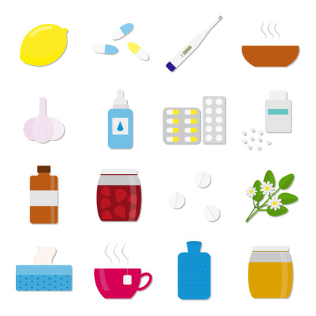 hot water bottle: Set of colorful flat icons for flu and cold treatment. 16 medical items for health treatment and care in flu season. Lemon, honey, pills, herbs, supplements, thermometer, hot water bottle, garlic. Illustration