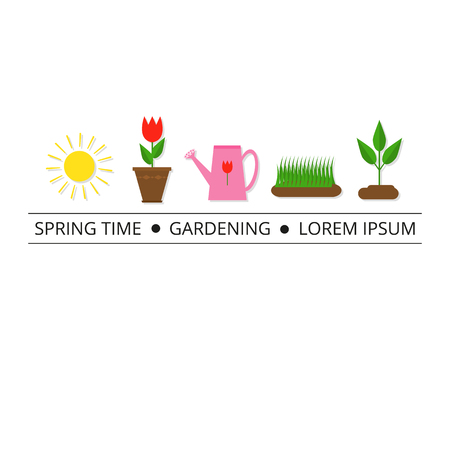 articles: Colorful spring icons with tag line. Sun, plant sprout, grass, tulip in pot, watering can. Can be used for articles, flayers, design, banners. Place for text.