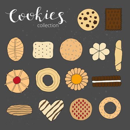 chocolate cookie: Colección de las galletas. Diversas galletas dibujado a mano aislado en la pizarra. Vista superior. Dibujado a mano galletas de colores. Mano galletas de letras escritas.