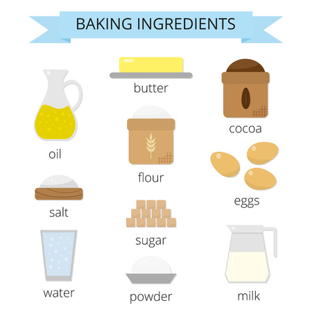Baking ingredients set. Brown sugar, butter, milk, eggs, flour, salt, cocoa, powder, water, cooking oil. Cooking ingredients in flat style isolated on white background.