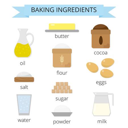 zestaw do pieczenia. Brązowy cukier, masło, mleko, jaja, mąka, sól, kakao, proszek, woda, olej jadalny. Składniki gotowania w stylu płaskiego odizolowane na białym tle. Ilustracje wektorowe