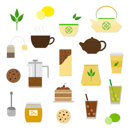 ice tea: Set of flat tea items and accessories. Tea ceremony symbols isolated on white background. Tea cup, pot, cake, tea strainer, honey, lemon, lime, cookies, chinese teapot, tea bag, ice tea.