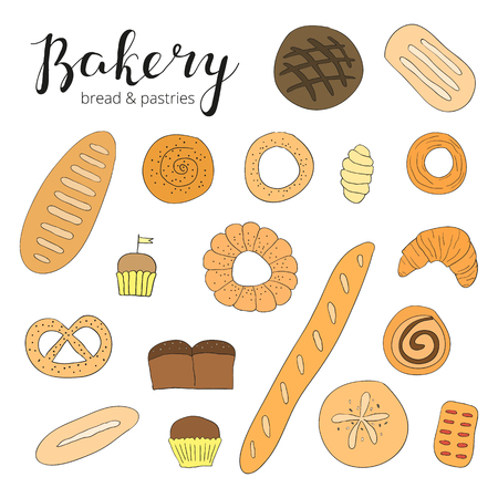 baking bread: Hand drawn baking bread and pastries. Doodle bakery products. Bread, muffins, croissant, buns, loaf, french baguette. Hand written lettering bakery. Illustration