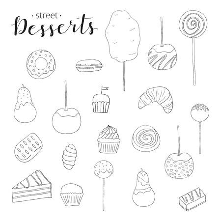 Collection of hand drawn desserts. Cotton candy, caramel apple, glazed donut, caramel pear, croissant, cake pop, cupcake, cake, muffin, pie, macaron, bun, lollipop. Cute doodle desserts. 版權商用圖片 - 52369988