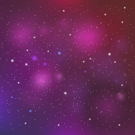 clusters: Vector space background in purple colors. Colorful space background witn star clusters and Nebula. Night starry sky.