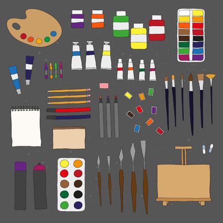 Hand getrokken schilderen hulpmiddelen die op het bord. Palet, penselen, ezel, sketchbookdocument, vochtige kleuren, kunstenaars verven, palet messen, tubes verf, potloden, stiften. Doodle kunstenaar items. Stock Illustratie