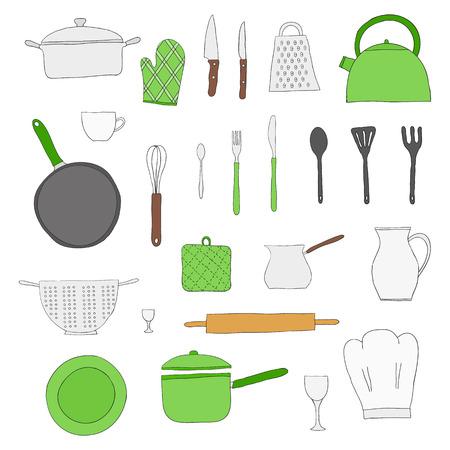 Disegnati A Mano Oggetti Da Cucina Isolato Su Sfondo Bianco ...