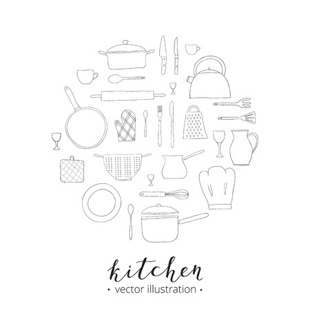 colander: Hand drawn kitchen items composed in circle shape. Teapot, chef hat, spoon, spatula, knife, bowl, grater, saucepan, plate, colander, potholder. Doodle kitchen utensils in circle. Illustration