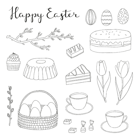 pussy willow: Hand drawn easter outline items set. Easter eggs, cake, tea cup, candies, cupcake, colored eggs, egg basket, tulips, pussy willow twig. Doodle easter items. Lettering Happy Easter.