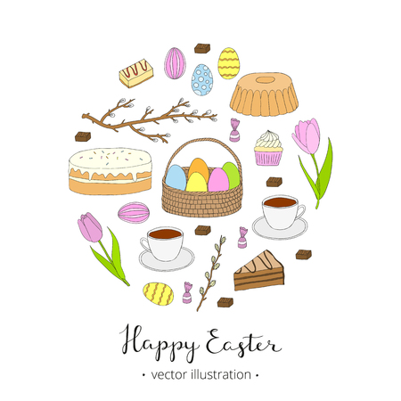pussy willow: Hand drawn easter items composed in circle shape. Easter eggs, cake, tea cup, candies, cupcake, colored eggs, egg basket, tulips, pussy willow twig. Doodle easter items. Lettering Happy Easter. Illustration