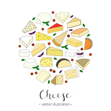 edam: Hand drawn cheese composed in circle shape. Gorgonzola, grana padano, comte, robiola, emmental, munster, mozzarella, edam, feta, parmesan. Popular kinds of cheese in circle. Various hand drawn cheese.