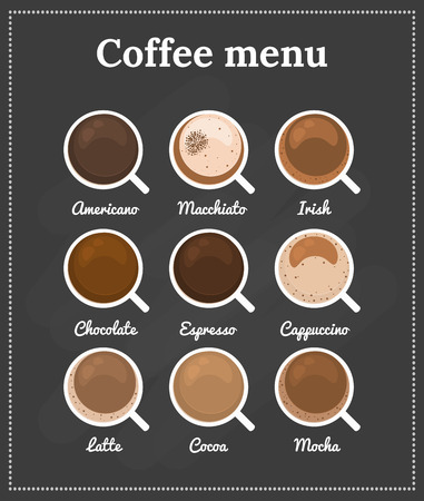 mugs of coffee: Coffee menu. Top view. Different types of coffee, chocolate, cocoa on the blackboard. Perfect for menu. Vector illustration.