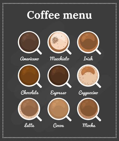tazas de cafe: Menú del café. Vista superior. Los diferentes tipos de café, chocolate, cacao en la pizarra. Perfecto para el menú. Ilustración del vector.