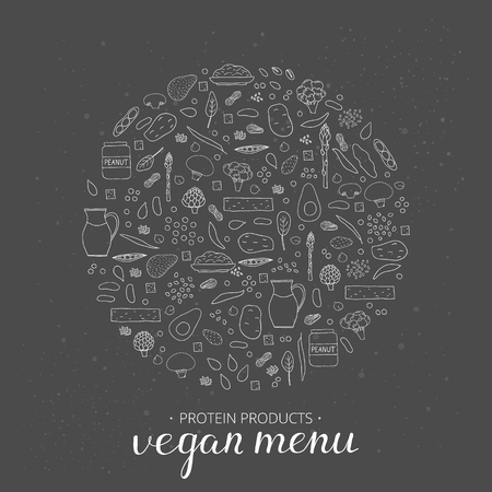 soy free: Vegan menu. Hand drawn outline vegan protein products in circle. Soy milk, peanut butter, broccoli, lentils, almond, avokado, tofu, asparagus, artichoke, spinach, oatmeal, potato, edamame, quinoa.