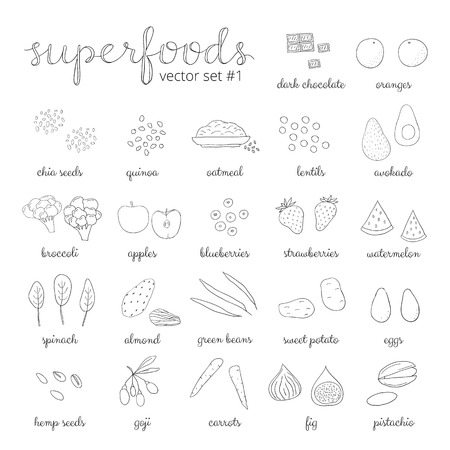Hand drawn superfoods. Outline icons. Chocolate, broccoli, goji, sweet potato, blueberry, strawberry, watermelon, pistachio, almond, spinach, apple, carrot, quinoa, eggs, avocado, oatmeal, fig, chia. Reklamní fotografie - 52945437