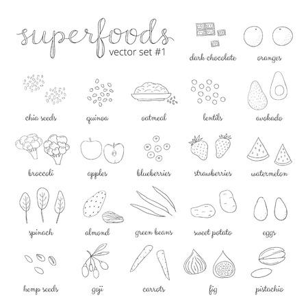 Hand drawn superfoods. Outline icons. Chocolate, broccoli, goji, sweet potato, blueberry, strawberry, watermelon, pistachio, almond, spinach, apple, carrot, quinoa, eggs, avocado, oatmeal, fig, chia.
