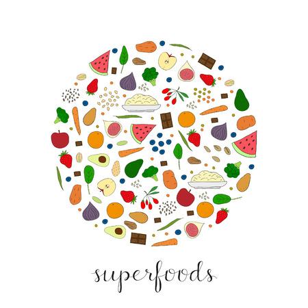 Hand drawn superfoods composed in circle shape. Chocolate, broccoli, goji, sweet potato, blueberry, strawberry, watermelon, pistachio, almond, spinach, apple, carrot, quinoa, egg, avocado, fig, chia. Illustration