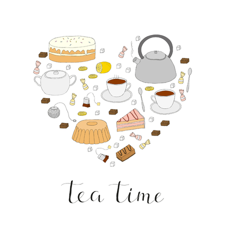 Hand drawn tea items composed in heart shape. Tea cup, pot, cake, tea strainer, sugar lemon, tea bag, cake slice, candies, tea spoon. Tea ceremony symbols in heart. Hand written lettering tea time.