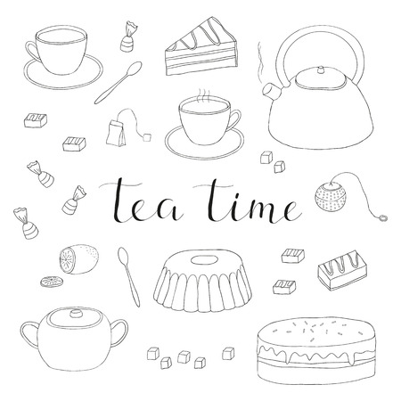 cake slice: Hand drawn outline tea items isolated on white background. Tea ceremony symbols. Tea cup, pot, cake, tea strainer, sugar lemon, tea bag, cake slice, candies, tea spoon. Hand written lettering tea time.