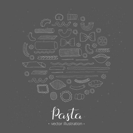 italian pasta: Different kinds of Italian pasta composed in circle shape. Farfalle, fusilli, cannelloni, penne rigate, ragatoni, ravioli, linguine, macheroni. Hand drawn outline pasta in circle.