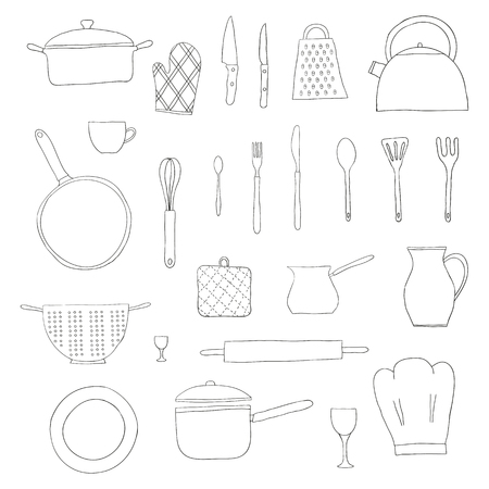 colander: Hand drawn kitchen items isolated on white background. Teapot, chef hat, spoon, spatula, knife, bowl, grater, saucepan, plate, colander, potholder. Doodle kitchen utensils.