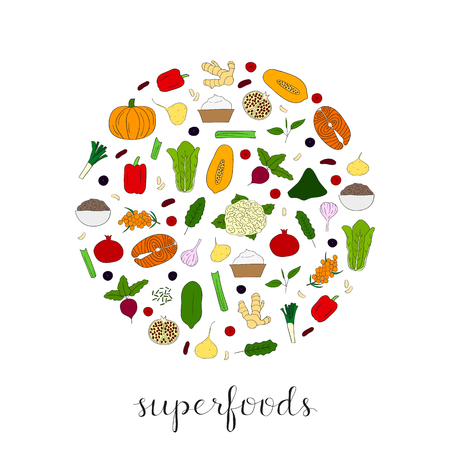 romaine lettuce: Hand drawn superfoods composed in circle shape. Pumpkin, acai, pomegranate, spirulina, beet, salmon, papaya, maca, pepper, cauliflower, sea buckthorn, celery, leek, ginger, cranberry, kale, lettuce.