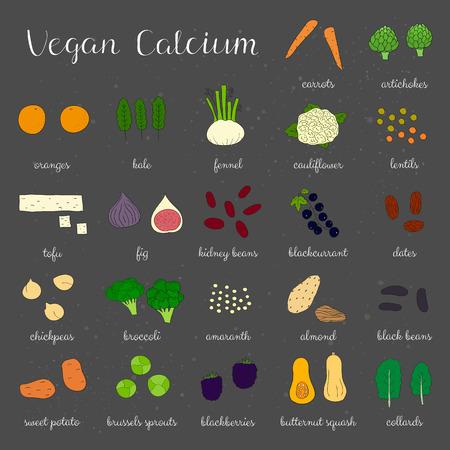 fennel: Plant-based calcium. Hand drawn vegan products. Blackcurrant, blackberry, date, brussel sprout, fennel, collard, amaranth, artichoke, chickpea, almond, lentil, cauliflower, tofu, kale, orange, fig.