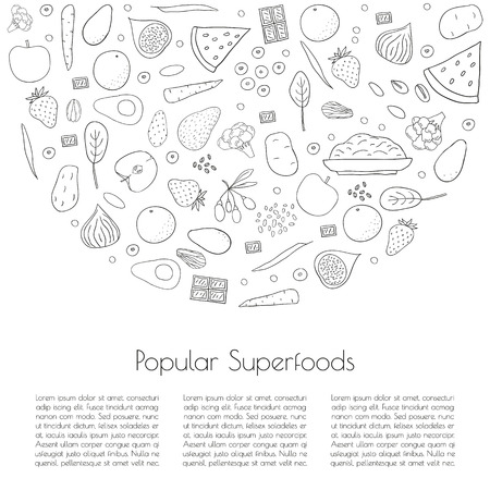 Popular superfoods concept. Article template. Chocolate, broccoli, goji, sweet potato, blueberry, strawberry, watermelon, pistachio, almond, spinach, apple, carrot, avocado, fig. Place for your text.