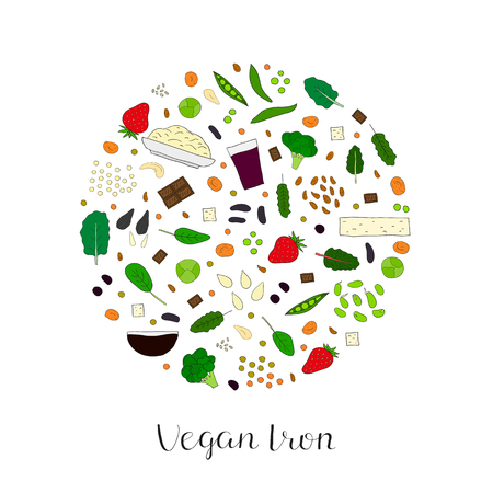 raisin: Plant-based iron. Hand drawn vegan products in circle. Strawberry, oatmeal, dried apricot, cashew, kale, swiss chard, molasses, prune juice, broccoli, chocolate, spinach, soybean, lima bean, raisin.
