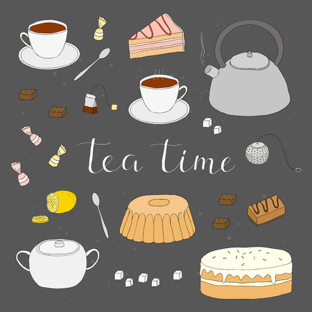 infuser: Hand drawn tea items isolated on the blackboard. Tea ceremony symbols. Tea cup, pot, cake, tea strainer, sugar lemon, tea bag, cake slice, candies, tea spoon. Hand written lettering tea time. Illustration