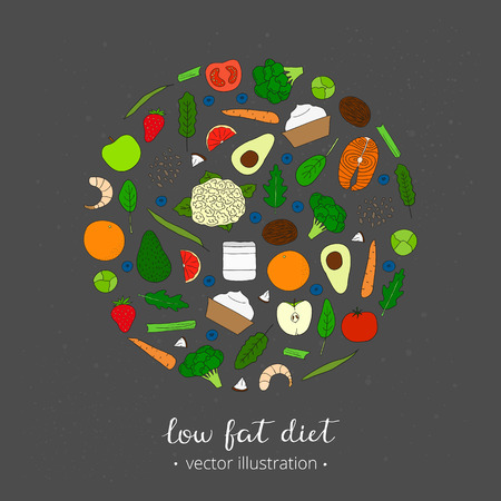 low fat diet: Foods for weight loss. Low fat diet concept. Hand drawn products in circle. Broccoli, salmon, shrimps, arugula, cauliflower, avocado, coconut oil, spinach, yougurt, carrot, strawberry, blueberry. Illustration