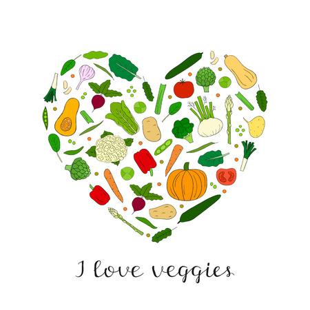 Hand gezeichnet Gemüse in Herzform. Butternut-Kürbis, Rosenkohl, Fenchel, Collard, Artischocke, Blumenkohl, Rüben, Tomaten, Gurken, Kürbis, Brokkoli, Pfeffer, Maca, Kartoffeln, Spinat, Karotten.
