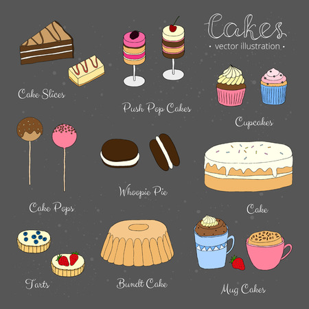 tarts: Hand drawn cakes on the blackboard. Cake slices, push pop cakes, cupcakes, cake pops, whoopie pie, tarts, bundt cake, mug cakes. Collection of different desserts.