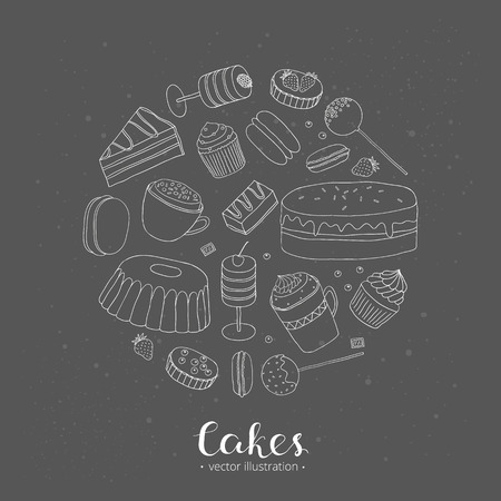 tarts: Hand drawn cakes composed in circle shape. Cake slices, push pop cakes, cupcakes, cake pops, whoopie pie, tarts, bundt cake, mug cakes. Collection of different desserts in circle.