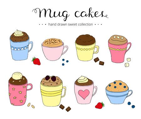 Het verzamelen van leuke doodle mok gebak. Tionele gebak in koffiemokken. Chocolade cake, bes cake, taart met ijs. Kan gebruikt worden voor recepten, ansichtkaarten, posters, culinaire artikelen. Vector Illustratie