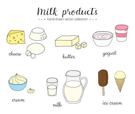 손으로 그린 우유 제품 흰색 배경에 고립입니다. 치즈, 리 코타, 모짜렐라, 버터, 요구르트, 크림, 우유, 아이스크림. 낙서 우유 제품 세트. 문자 쓰 일러스트
