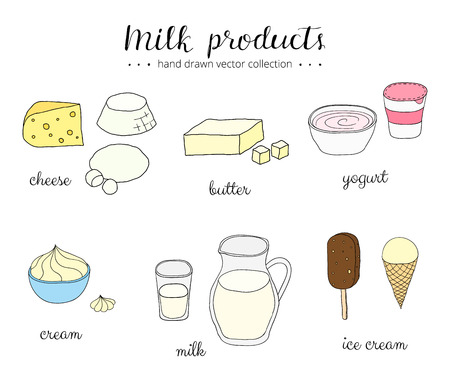 Hand drawn milk products isolated on white background. Cheese, ricotta, mozzarella, butter, yogurt, cream, milk, ice cream. Doodle milk products set. Lettering.