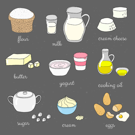 cream cheese: Hand drawn colored baking ingredients on chalkboard. Flour, milk, cream cheese, butter, yogurt, cooking oil, sugar, whipped cream, eggs. Doodle cooking ingredients set.